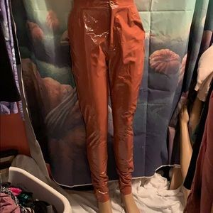 "New Milk Chocolate Vinyl Pants Small 28"" waist"